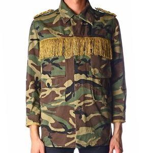 Saint Laurent Paris Camo Army Jacket with Gold Fri